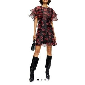 (NWT) TOPSHOP organza floral mini dress